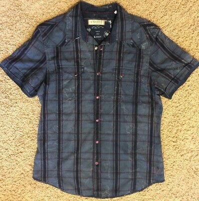 Vintage Guess Mens Plaid Distressed Snap-Button Shirt Size Large Blue Slim-Fit