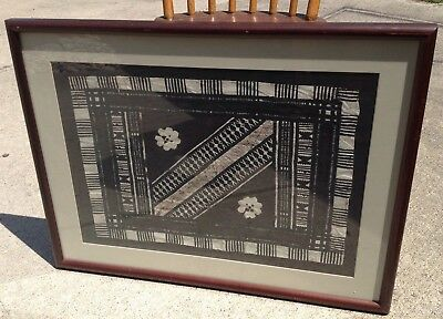 Framed Tapa Bark Cloth Polynesian