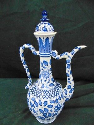 Blue & White Teapot Fancy Japanese Japan kl-177 antique vintage asian asia rare