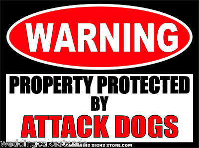 "Attack Dogs Funny Warning Sign Stickers Set of 2 Decals 4"" wide WS437"