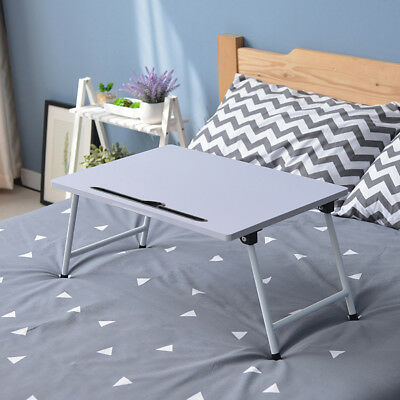 Charging Hole White Folding Laptop Stand Bed Sofa Computer Table Desk Metal Leg