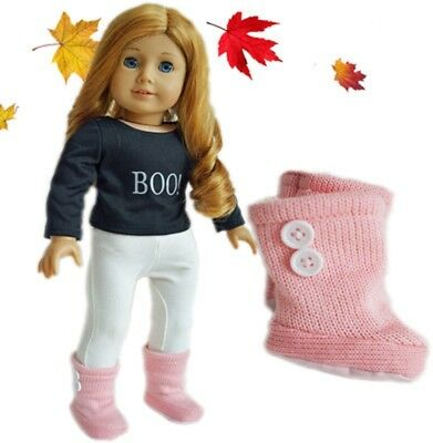 "Doll Clothes AG 18"" Boots Knit Pink Made To Fit American Girl Dolls"
