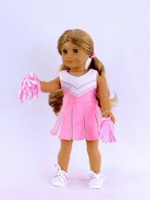 "Doll Clothes Fit AG 18"" Pink Cheerleader Pom Poms Fits 18"" American Girl Dolls"