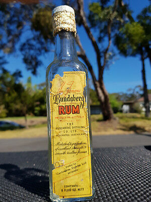 Vintage Early 1950  Very Rare 8 0Z Bundaberg Rum  ( Cry Baby Face ) Old Bottle
