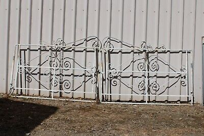 Vintage Pair Curly Wrought Iron Front Gates Retro Garden French Provincial