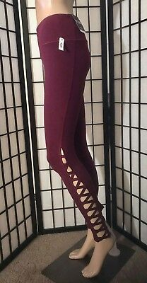 Nwt Victoria's Secret Sport Maroon Shimmer Strappy Yoga Knockout Tight Leggings