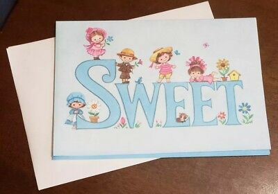 Vintage Lovables Birthday card by Quality Crest, glitter accented