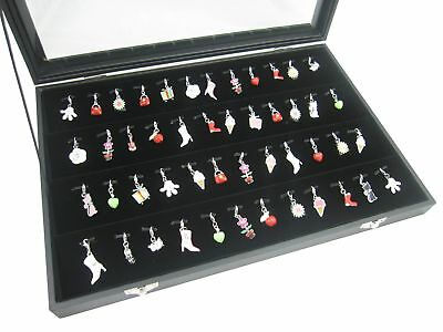 Black Glass Top Lid Jewelry Display Holder Organizer Storage for Charms Pendants
