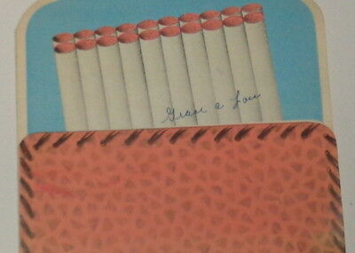 "Vintage birthday card, leather cigarette holder, smoking collectible 5"" used"