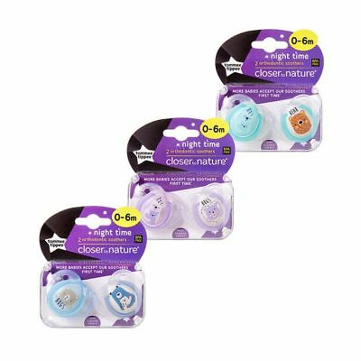 NEW Tommee Tippee Closer To Nature 0-6 Months Night Soother 2 Pack Assorted