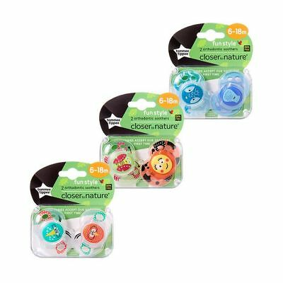 NEW Tommee Tippee Closer To Nature 6-18 Months Fun Soother 2 Pack Assorted