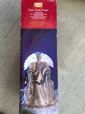 """Holiday Living LOWES Fiber Optic Light Up Angel Tree Topper 18"""" Tested In Box"""