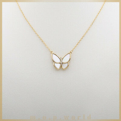 White Mother of Pearl Butterfly with Cubic in Gold plated Pendant Necklace NEW