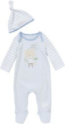 BNWT, 2 Pce, Baby, Bear, All-In-One, Sleepsuit & Hat, Sz 00, 3 to 6 Mths, Cotton