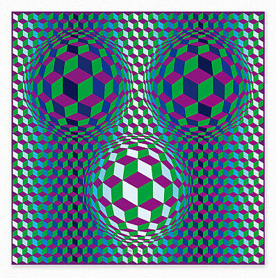 Victor Vasarely    Bulus  90x90 cm STAMPA TELA CANVAS PRINT TOILE LIENZO