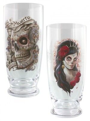 Spiral Day Of The Dead - Set of 2 Drinking Glasses. Free Shipping