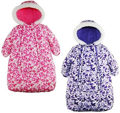 Pink Platinum Baby Girls Snowsuit Carbag Floral Camo Winter Puffer Bunting Pram