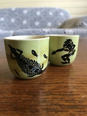 Two Vintage Martin Boyd Signed Egg Cups Aboriginal Theme