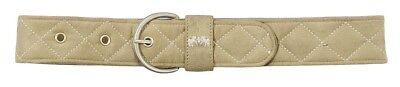 (X-Large, Safari/White) - Equine Couture Quilted Suede Belt. Huge Saving