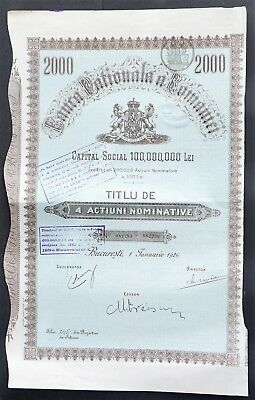 Romania - National Bank of Romania - 1926 - 4 shares for 2000 Lei