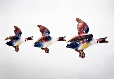 RARE VINTAGE SET OF THREE 'BOUQUET WARE' FLYING DUCKS/WALL POCKETS c1950's