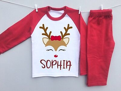 PERSONALISED CHRISTMAS EVE Pyjamas with any GLITTER name CUTE Reindeer face gift