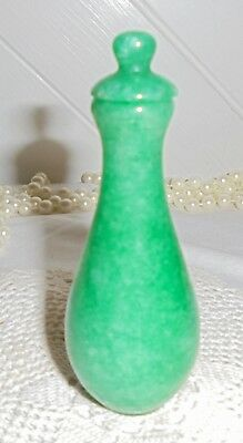 L193 Stunning Heavy Vintage Chinese Green Jade Snuff Bottle. Perfect.