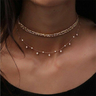 Fashion Multilayer Choker Necklace Crystal Star Chain Gold Women Summer Jewelry