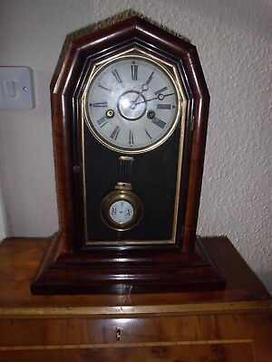 Antique American Walnut Mantle Clock