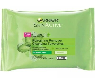 Garnier Clean Refreshing Cleansing Towelettes Oil Free Normal Skin, 25ct 2 Pack