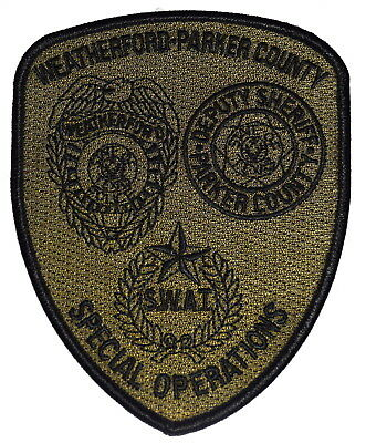 WEATHERFORD PARKER COUNTY – SWAT - TEXAS TX Police Sheriff Patch SUBDUED ~