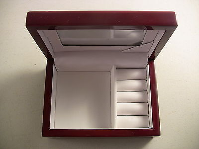 Vintage Jewelry Box Red Lacquerware White Lining Mid Century Modern Asian Decor