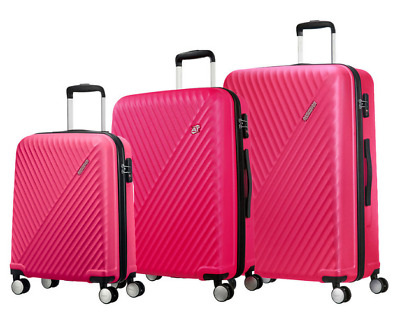 American Tourister Visby 3 Pc Spinner Suitcase, Raspberry *Cabin Medium Large*