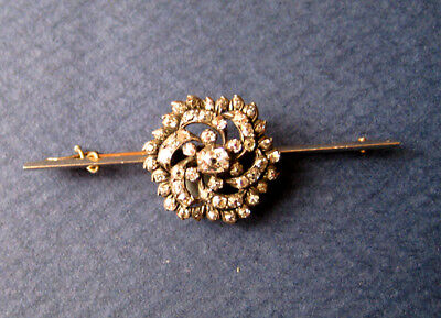 Victorian, diamonds on 9ct white gold and silver brooch