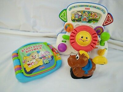 Fisher Price Laugh and Learn Little Driver Story Rhymes Book Horse Flash Light