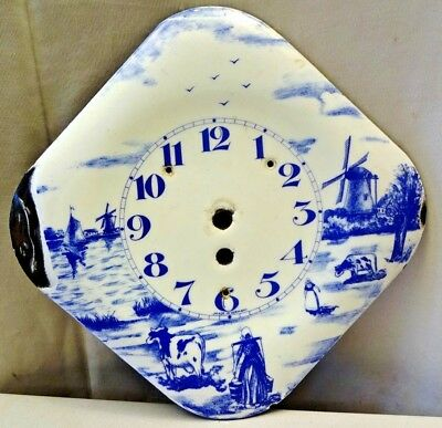 Antique Porcelain Enamel Delft Wall Clock 8 Day Germany Blue & White Colectibles