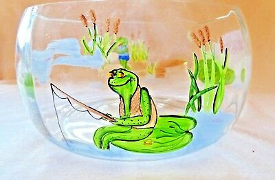 Lily Pad Lane by Crystal Clear Romania frogs hand blown glass hand painted bowl