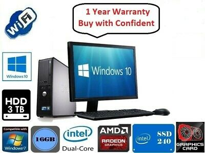Full Dell/HP Dual Core/AMD Desktop Tower PC&LCD Win 7/10  8GB 1TB