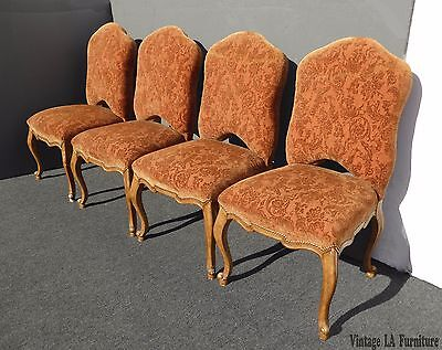 Four Vintage French Provincial Style Wood Orange Floral Dining Chairs