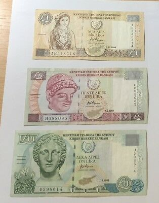 Cyprus set of 3 1 to 10 Pounds banknotes