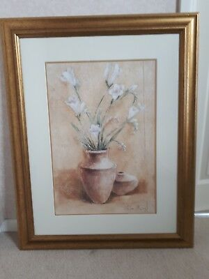 Large Gold Framed Picture Of White Flowers In Vase