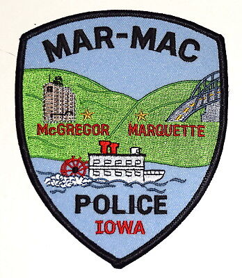 MAR-MAC IOWA IA Police Sheriff Patch MC GREGOR MARQUETTE PADDLE WHEEL RIVERBOAT