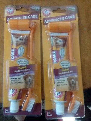 2x Arm and Hammer Advanced Care Dental Care Kit Toothbrush Set for Dogs Beef