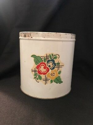 Vintage Tin Off White with Red, Blue, Yellow Flowers Mid Century