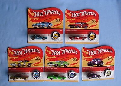 2018  HOT-WHEELS REDLINES 50th-Anniversary SET Lot Of 5 New Unpunched Cards