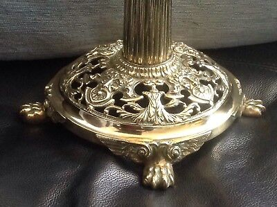Vintage Corinthian Column Brass Oil Lamp Base 13 inch with duplex double burner