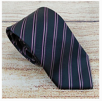 Hugo Boss Grey Purple Striped Men's Silk Neck Tie