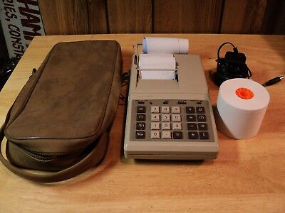 Vintage Sears 1970's 12PP Portable Calculator, Adding Machine, Tape, with Case