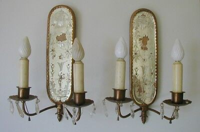 BEAUTIFUL PAIR BRONZE  ETCHED MIRROR BACK  SCONCES w/ PRISMS CALDWELL QUALITY