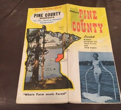 VINTAGE 1960's PINE COUNTY MINNESOTA LAKES BROCHURE MAP